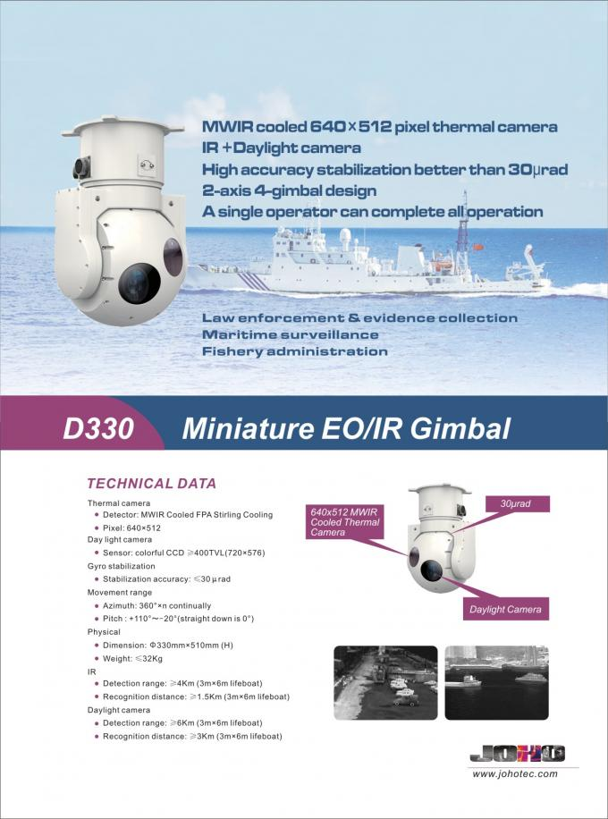 Miniature Shipborne / Airborne 2-axis Electro Optical IR Thermal Tracking Pod System